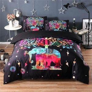Queen Size Elephant Tree Boho Comforter Set NEW